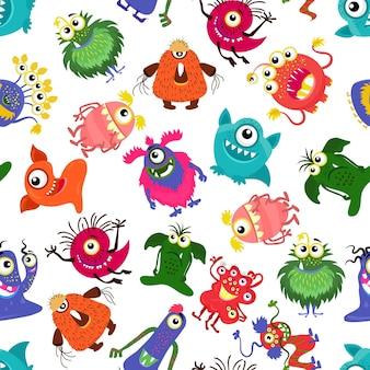 Lindo patrón de monstruo colorido transparente para niño feliz.