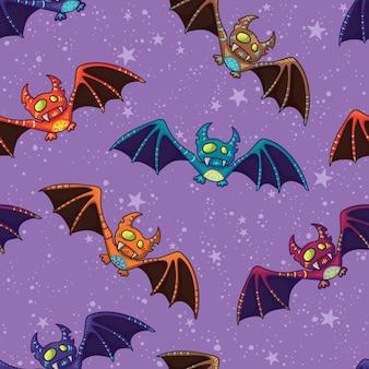 Lindo patrón de murciélago tribal dibujado a mano para feliz halloween