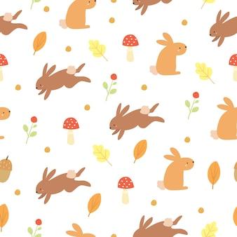 Lindo patrón de otoño con conejitos
