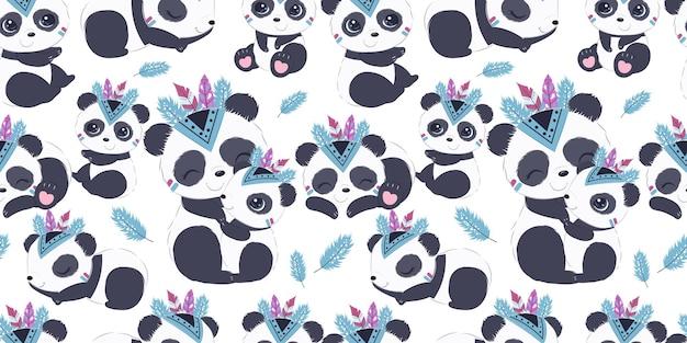 Lindo patrón de panda boho para papel tapiz de tela para niños y muchos más