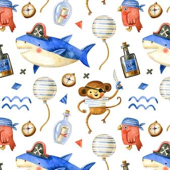 Lindo patrón pirata con animales piratas en estilo acuarela