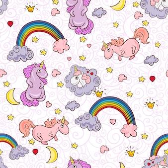 Lindo patrón sin costuras con unicornios.