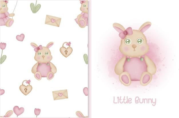 Lindo patrón y tarjeta con conejito conejo y elementos de san valentín.