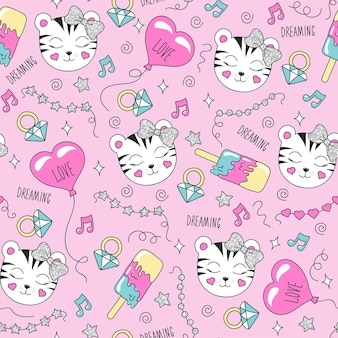 Lindo patrón de tigre sobre un fondo rosa. patrón transparente de moda colorido. dibujo de ilustración de moda en estilo moderno para ropa. dibujo para ropa infantil, camisetas, tejidos o embalajes.