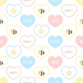 Lindo patrón transparente de abeja y flor
