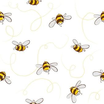 Lindo patrón transparente con abejas voladoras.