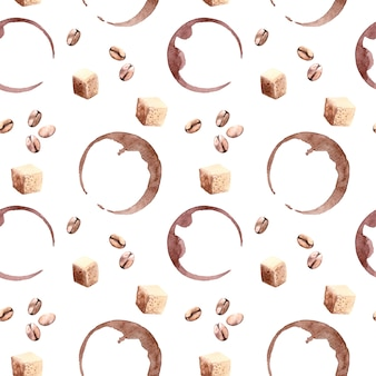 Lindo patrón transparente acuarela con puntos de café, frijoles y azúcar