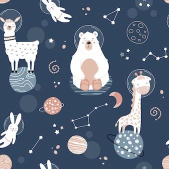 Lindo patrón transparente con animales del espacio