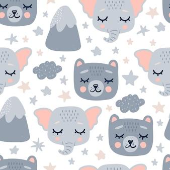 Lindo patrón transparente con cabezas de animales durmientes.