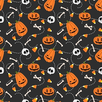 Lindo patrón transparente de calabaza y cráneo de halloween