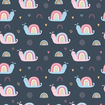 Lindo patrón transparente con caracoles arcoiris