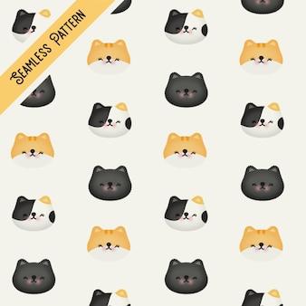 Lindo patrón transparente con caras de gatos.