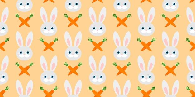 Lindo patrón transparente con conejos y zanahorias.