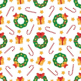 Lindo patrón transparente con coronas de navidad y cajas de regalo.