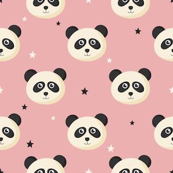 Lindo patrón transparente con dibujos animados bebé panda y estrella para niños. animal sobre fondo rosa.