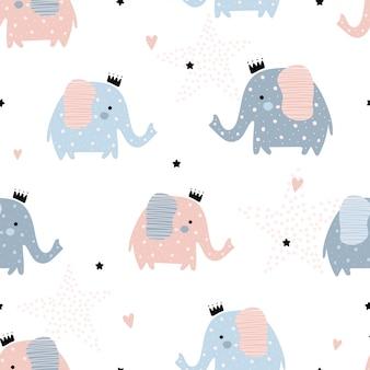 Lindo patrón transparente con elefantes.