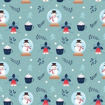Lindo patrón transparente de elementos de navidad