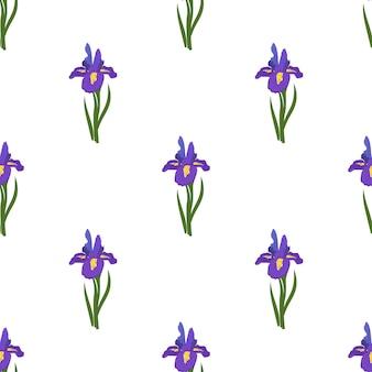 Lindo patrón transparente de flores de iris. estampado brillante de primavera y verano con hojas verdes.