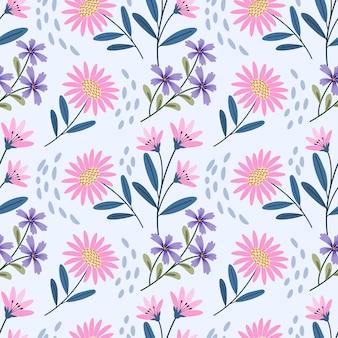 Lindo patrón transparente de flores rosadas y púrpuras.