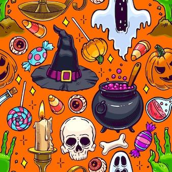 Lindo patrón transparente de halloween de atributos mágicos y dulces. ilustración dibujada a mano