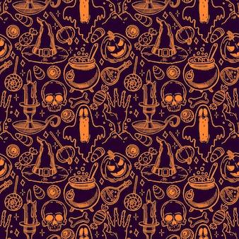 Lindo patrón transparente de halloween de atributos mágicos y dulces