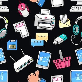 Lindo patrón transparente con iconos de computadora sobre fondo oscuro. ilustración dibujada a mano