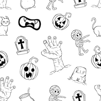 Lindo patrón transparente de iconos de halloween usando estilo doodle