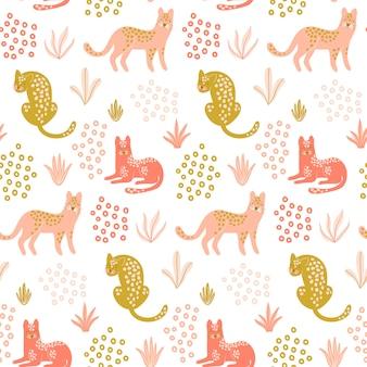 Lindo patrón transparente con leopardos.