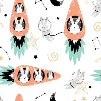 Lindo patrón transparente con liebres en cohetes de zanahorias