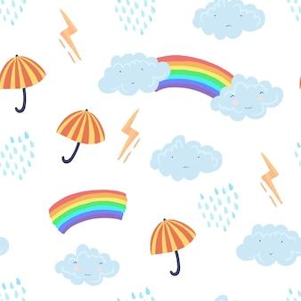 Lindo patrón transparente de luz con clima de dibujos animados con textura, nubes divertidas, paraguas, lluvia y arco iris