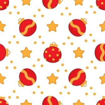 Lindo patrón transparente de navidad con bolas rojas y estrellas.