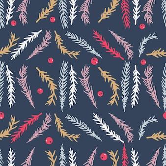 Lindo patrón transparente de navidad con ramas de abeto y bayas
