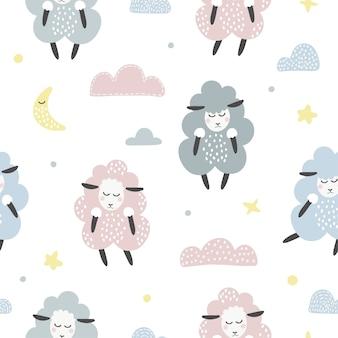 Lindo patrón transparente con ovejas y nubes.
