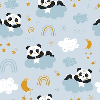 Lindo patrón transparente con panda y nubes.