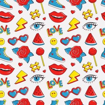 Lindo patrón transparente con parche de colores. fondo de moda en colores blanco, negro, rojo, azul y amarillo. ilustración de moda