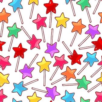 Lindo patrón transparente con piruletas de estrellas multicolores. ilustración dibujada a mano