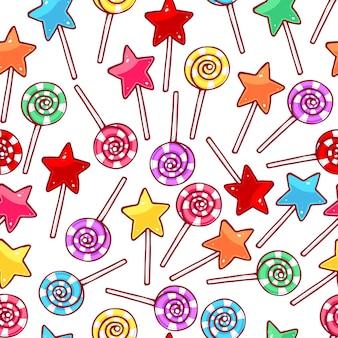 Lindo patrón transparente con piruletas multicolores. ilustración dibujada a mano