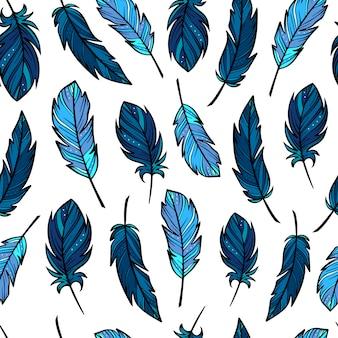 Lindo patrón transparente con plumas dibujadas a mano