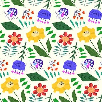 Lindo patrón transparente simple con flores planas abstractas en estilo escandinavo