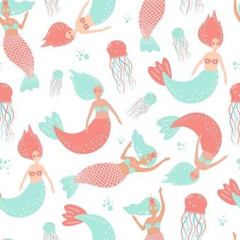 Lindo patrón transparente con sirenas y medusas.