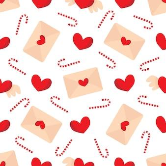 Lindo patrón transparente con sobres y corazones para san valentín.