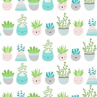 Lindo patrón transparente con suculentas y cactus en macetas de colores. ilustración escandinava en colores pastel para papel tapiz, telas, textiles, papel de regalo, álbumes de recortes, etc.