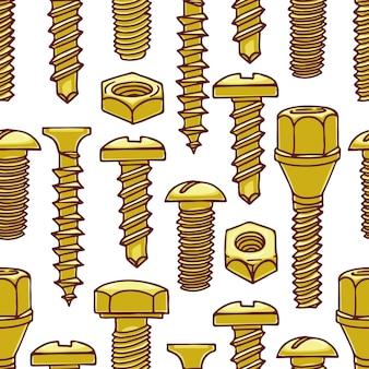 Lindo patrón transparente con tornillos y tuercas. ilustración dibujada a mano