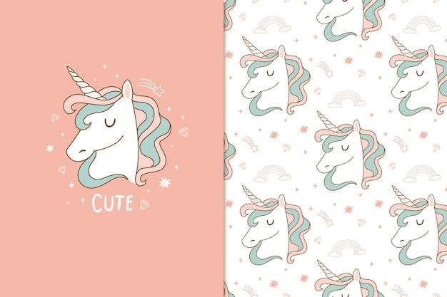 Lindo patrón de unicornio