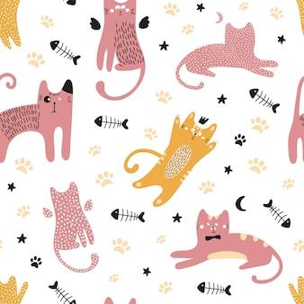 Lindo de patrones sin fisuras con los gatos