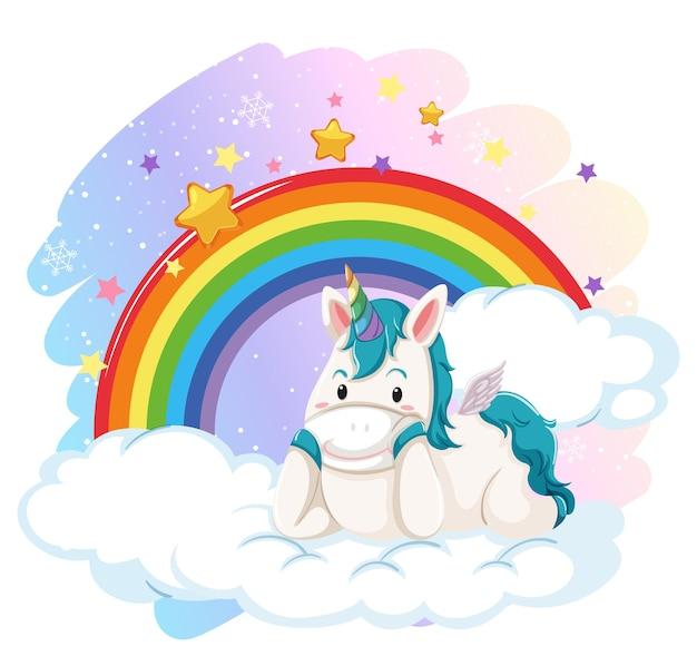 Lindo pegaso en el cielo pastel con arco iris