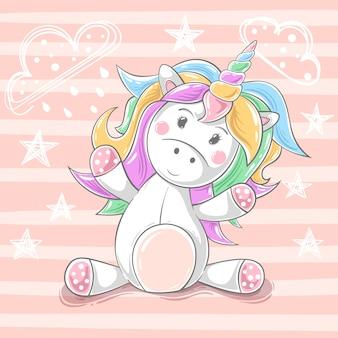 Lindo peluche unicornio - personajes de dibujos animados. dibujar a mano
