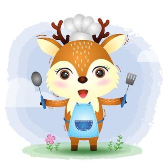 Un lindo y pequeño chef de ciervos.