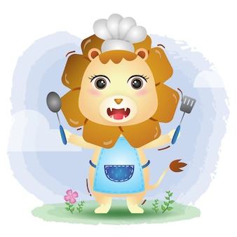 Un lindo y pequeño chef león