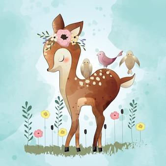 Lindo pequeño ciervo y sus amigos